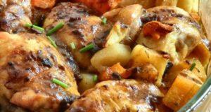 Печено пилешко со печурки
