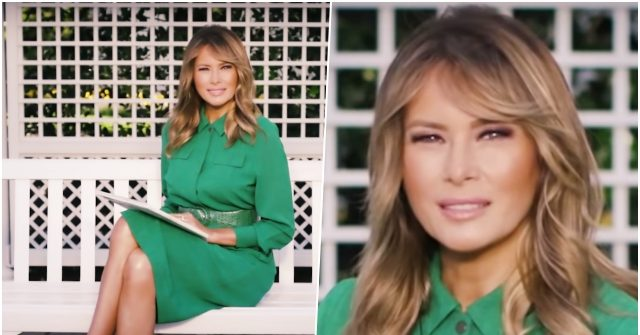 photos-melania-trump-wishes-happy-easter-in-kelly-green-shirt-dress-snakeskin-pumps