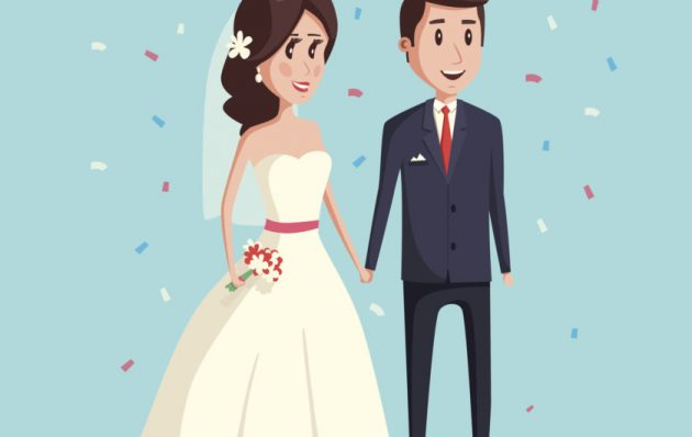 Bride and groom as wedding couple illustration