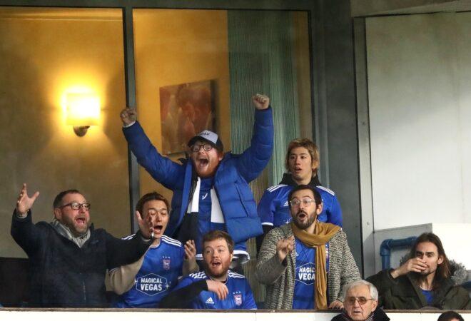 *EXCLUSIVE* Superstar Musician Ed Sheeran watches his beloved Ipswich Town with One OK Rock band stars Takahiro Moriuch and Toru Yamashita