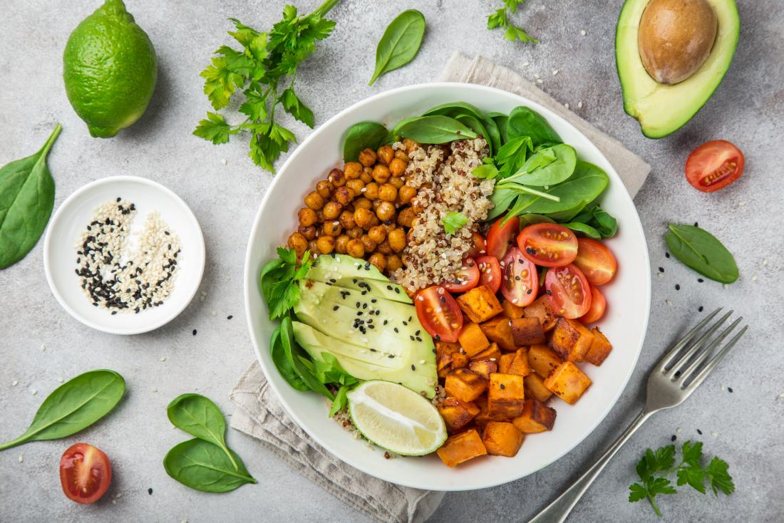 vegan-meal-with-chickpeas-quinoa-sweet-potato-avocado-lime-and-high-fiber-vegetables-and-legumes-for-pcos-diet