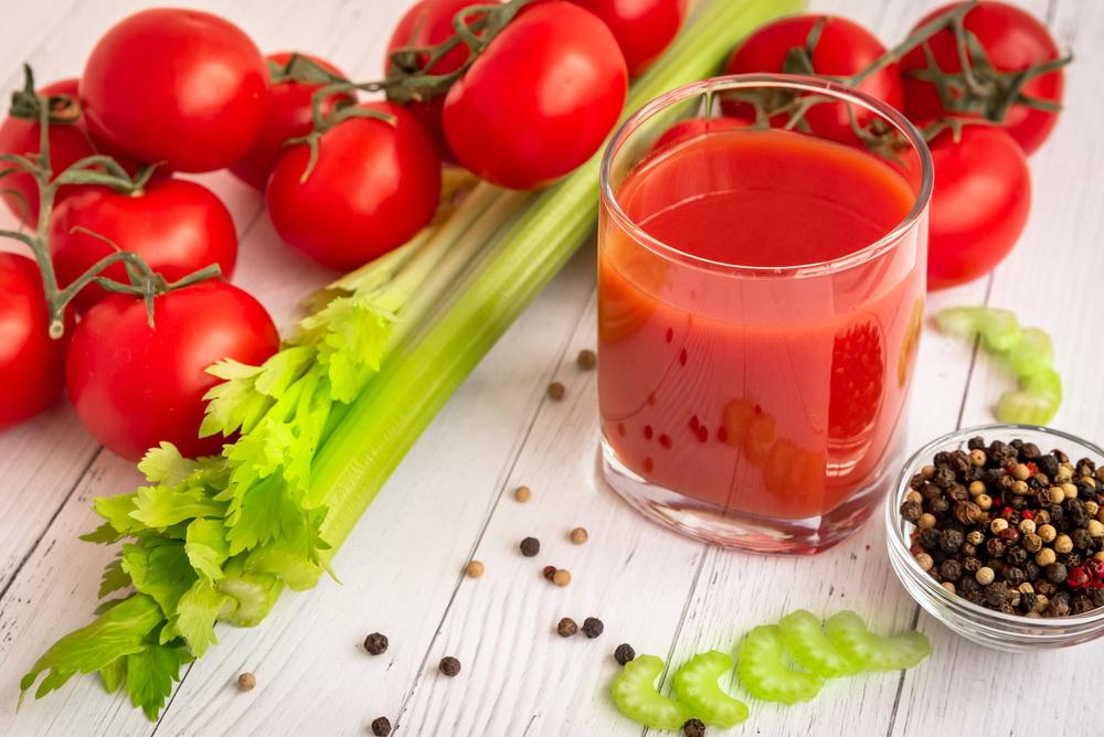 Tomato,Juice,In,A,Glass,Glass,,,Celery,Stalks,,