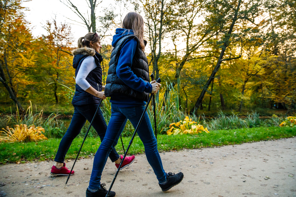 Nordic,Walking,-,Active,People,Working,Out,In,Park
