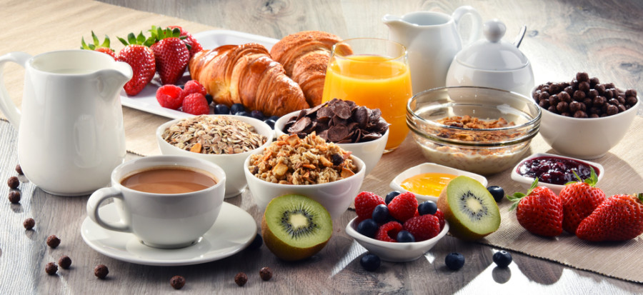 Breakfast,Served,With,Coffee,,Orange,Juice,,Croissants,,Cereals,And,Fruits.