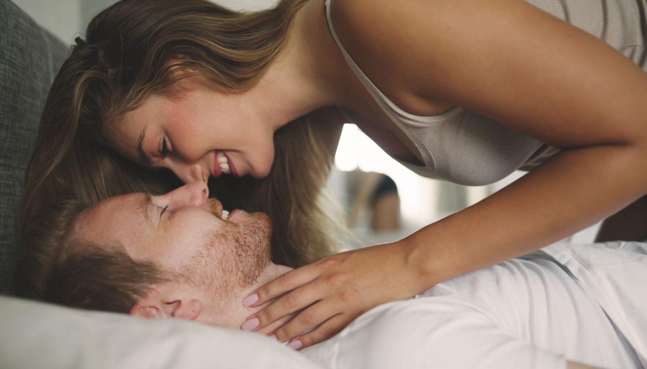 Beautiful romantic couple foreplay